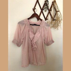 ❀ ZARA Pink Ruffle Femme Short Sleeve Blou…
